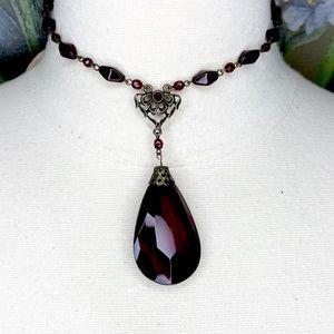 Robert Rose Dark Red Facet Pendant Choker Necklace